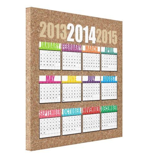 Tela em Canvas com Calendário 2014, no layout98 Impressão De Canvas Envolvida