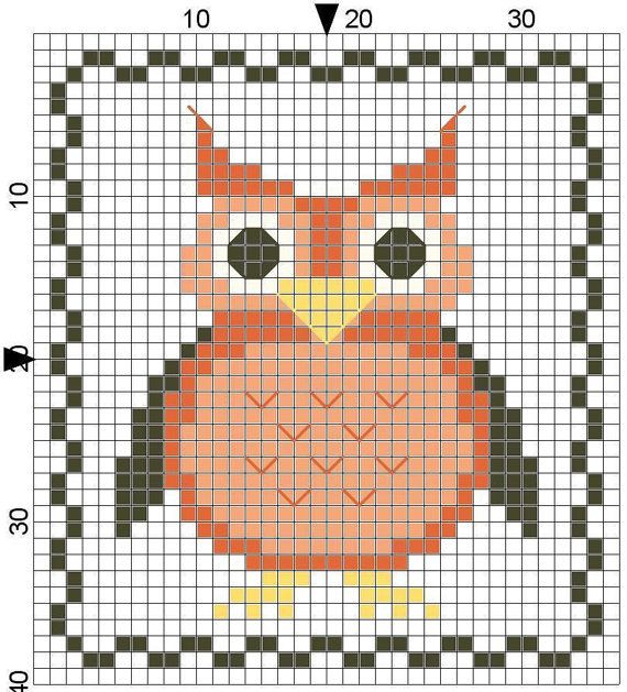 Wise Old Owl Counted Cross Stitch by Berwickbay on Etsy, $1.00