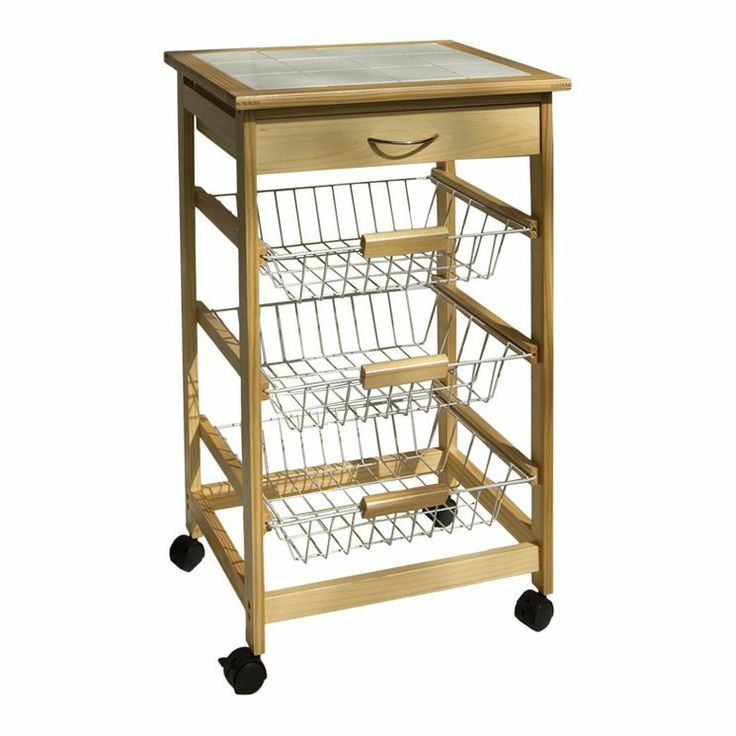 Tile Top Basket Kitchen Cart In Natural Teeny Tiny Kitchen Pinterest Natural Baskets And