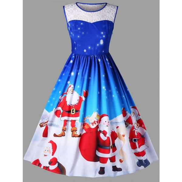 Christmas Plus Size Santa Claus Sleeveless Swing Dress (1,100 MKD) ❤ liked on Polyvore featuring dresses, plus size dresses, plus size christmas dresses, trapeze dresses, plus size sleeveless dresses and plus size tent dress