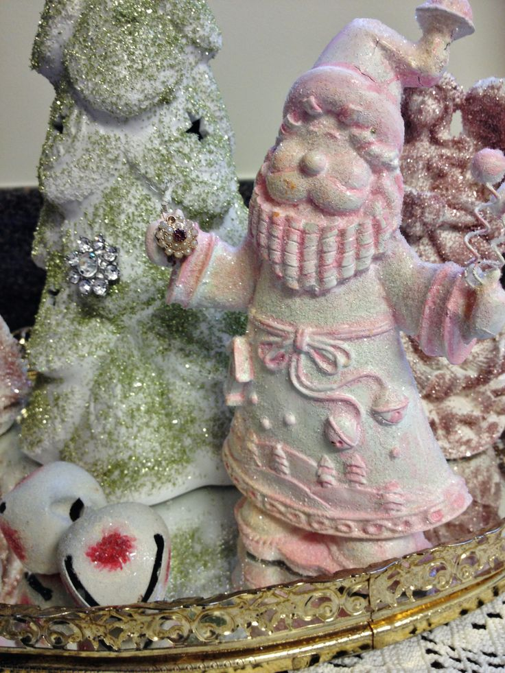 German Glass sugar coated Christmas figurines