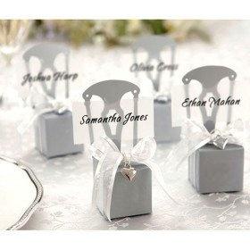Kartonage Stuhl silber 1 Stück - mit kleine Schachtel oder Box- für Gastgeschenke zum befüllen uns Namenskärtchen