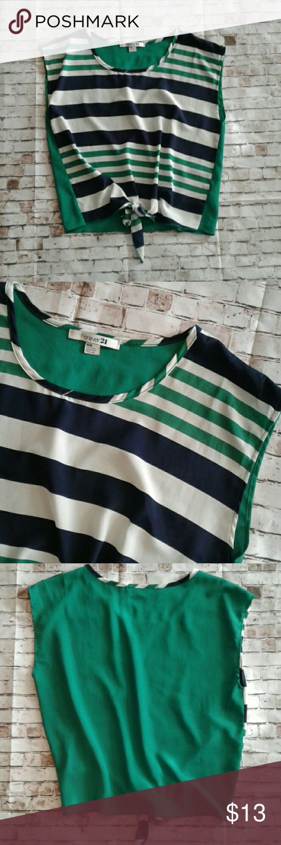 Striped tie hem Forever 21 top Navy, green, and cream colored stripes. tie hem. Perfect pre loved condition. Forever 21 Tops Blouses