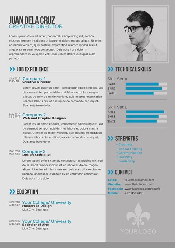 Free Modern And Simple Resume / Cv Template  Contemporary Resume Templates Free