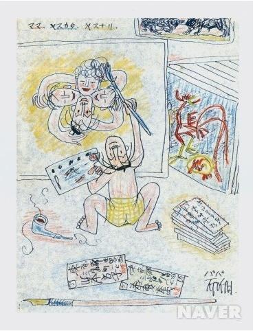 <아들에게 보낸 편지에 동봉한 그림 by 이중섭> 이 그림도 이중섭이 아들에게 보낸 편지에 삽입되어 있던 그림이다. 이중섭은 생계 유지 때문에 아내와 떨어져 생이별을 해야했다. 그래서 가족과 아들에게 수많은 편지를 보냈다고 한다. 그의 그림에는 아이들과 아내가 자주 등장한다.이는 가족에게 편지를 쓸 때 그들에 대한 그리움을 삽화로  나타낸 것이다.