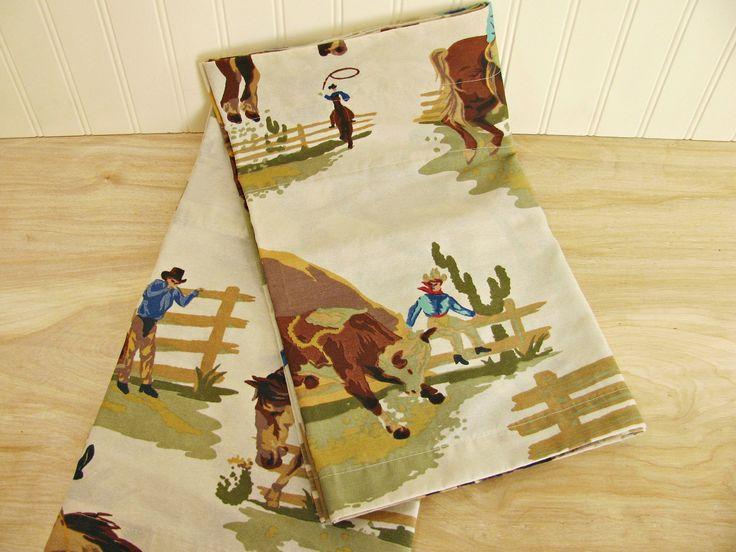 "Vintage Western Valances 82"" Each Western Curtains Cowboy Curtains Western Decor Cowboy Valances Kids Curtains Ranch Decor Boys Curtains by HipCatRetroVintage on Etsy"