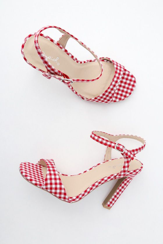 Put some spring in your step with the Sardinia Red Gingham Dress Sandals! A wide toe strap (made from cute red and white gingham fabric) is paired with a matching quarter strap that secures around the ankle with a silver buckle.