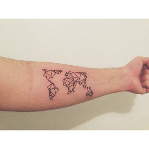 Best 25 world map tattoos ideas on pinterest world tattoo geometric world map buscar con google gumiabroncs Image collections