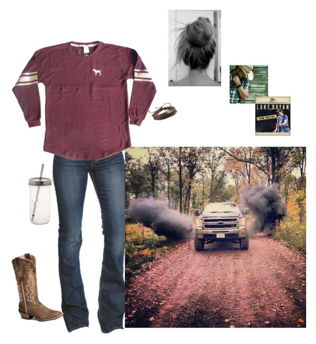 """gimme just one dirt road"" by kansascountrygirl ❤ liked on Polyvore featuring 1921, Zodaca, Ariat and Victoria's Secret"