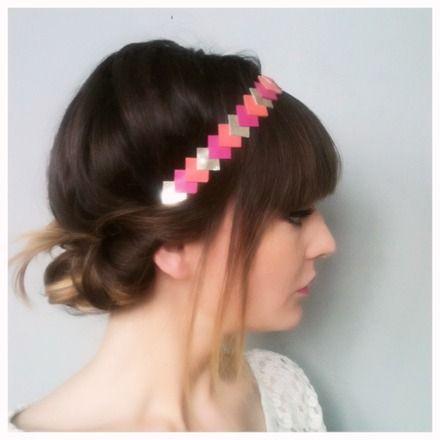 """Head-band """"graphic"""" en  Cuir -->Or - fuchsia -corail réalisé a la main accessoire de coiffure  : Accessoires coiffure par lucky-rosetta"""