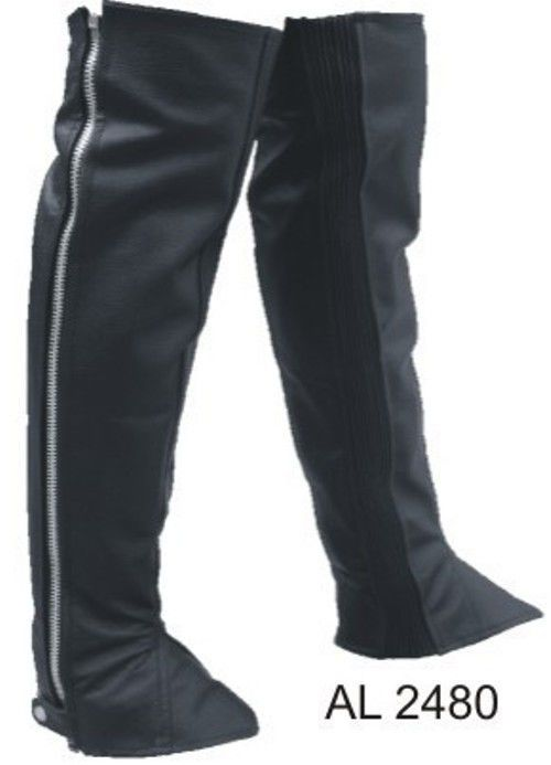 Motorcycle Riders Plain LeggingsHalf Chaps With Spandex Analine Cowhide
