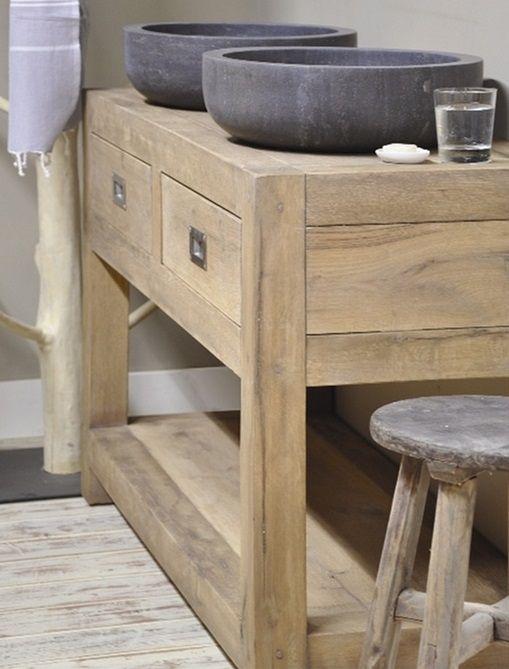 wood vanity. stone basins.