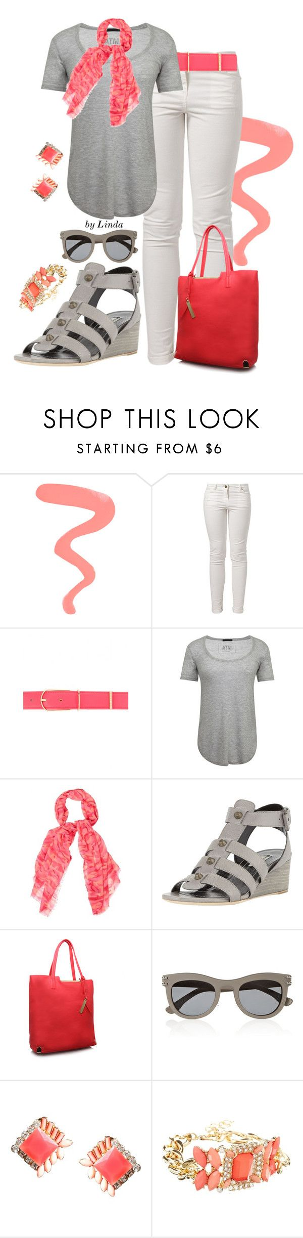 """""""Coral & Gray Spring Outfit"""" by lindakol ❤ liked on Polyvore featuring Topshop, Best Mountain, Ted Baker, ATM by Anthony Thomas Melillo, H! by Henry Holland, Balenciaga, Vince Camuto, Roland Mouret and DesignSix"""