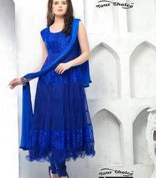 Buy Purple embroidered Net semi stitched salwar with dupatta anarkali-salwar-kameez online