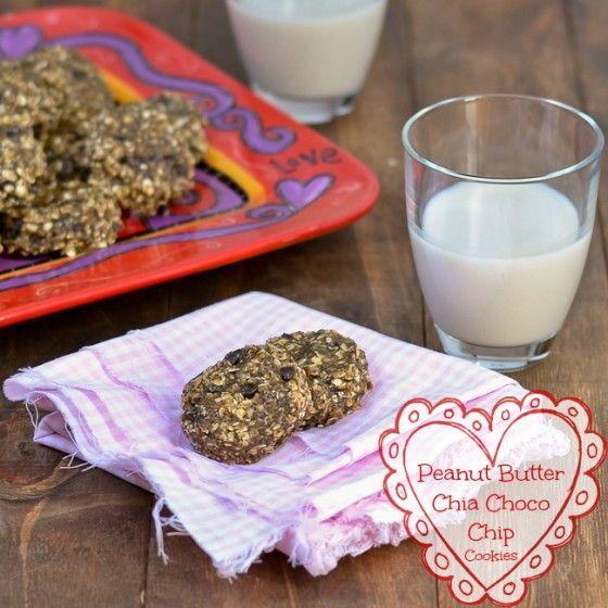 No Bake Peanut Butter Chia Chocolate Chip Cookies @carascravings #hearthealth #glutenfree