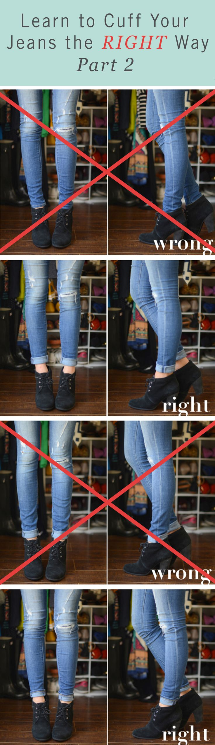 Even skinny jeans can use a proper cuffing. Make your casual fall outfit the best it can be with these tips on how to cuff your jeans.