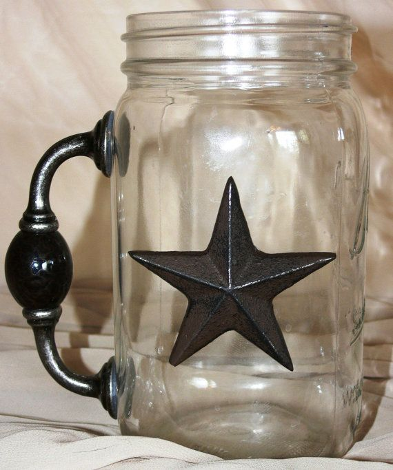 The Big Bubba Large Quart Mason Jar Drinking Glass with Handle and Star or Horseshoe via Etsy