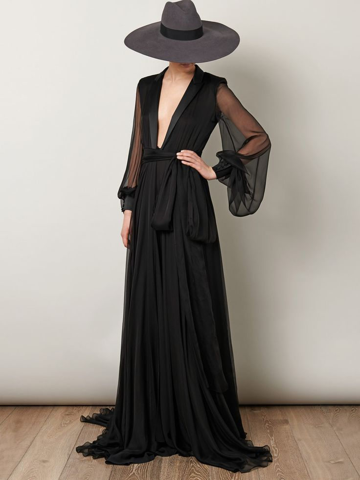 Saint Laurent Le Smoking Full Length Gown in Black | Lyst