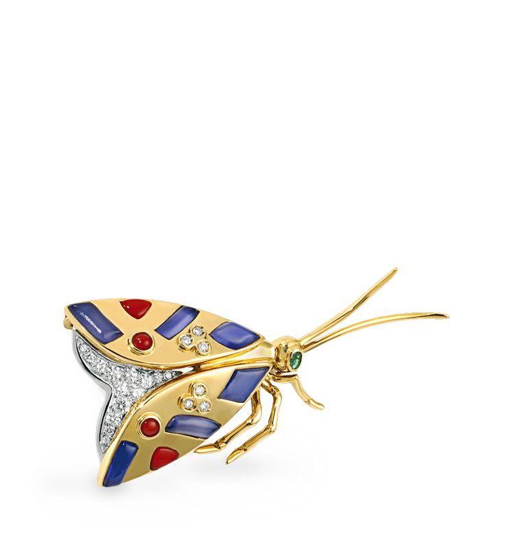 Broche Mariposa. Pieza única de J.Roca. Broche en forma de mariposa realizado en oro amarillo con brillantes  #brillantes #joya #broche #oro #joyeriabarcelona