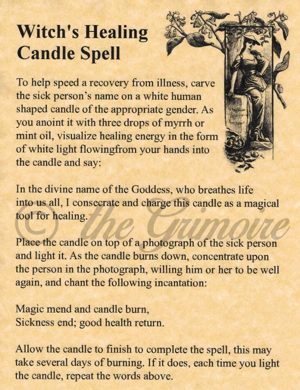 Witch's Healing Candle Spell, BOS Page, Book of Shadows Page, Real Magic Spell