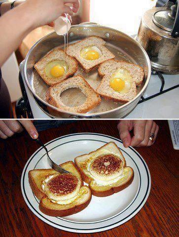 Pão com Ovo no forno, sem fritura... hummmm  Reparem que está na forma, logo não foi frito e sim assado. Aqui.       Muita gente quer come...