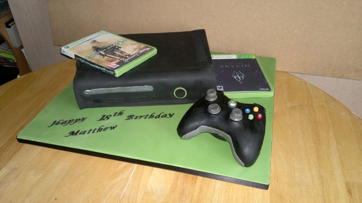 black xbox cake - black xbox cake with edible games and rice krispie controller