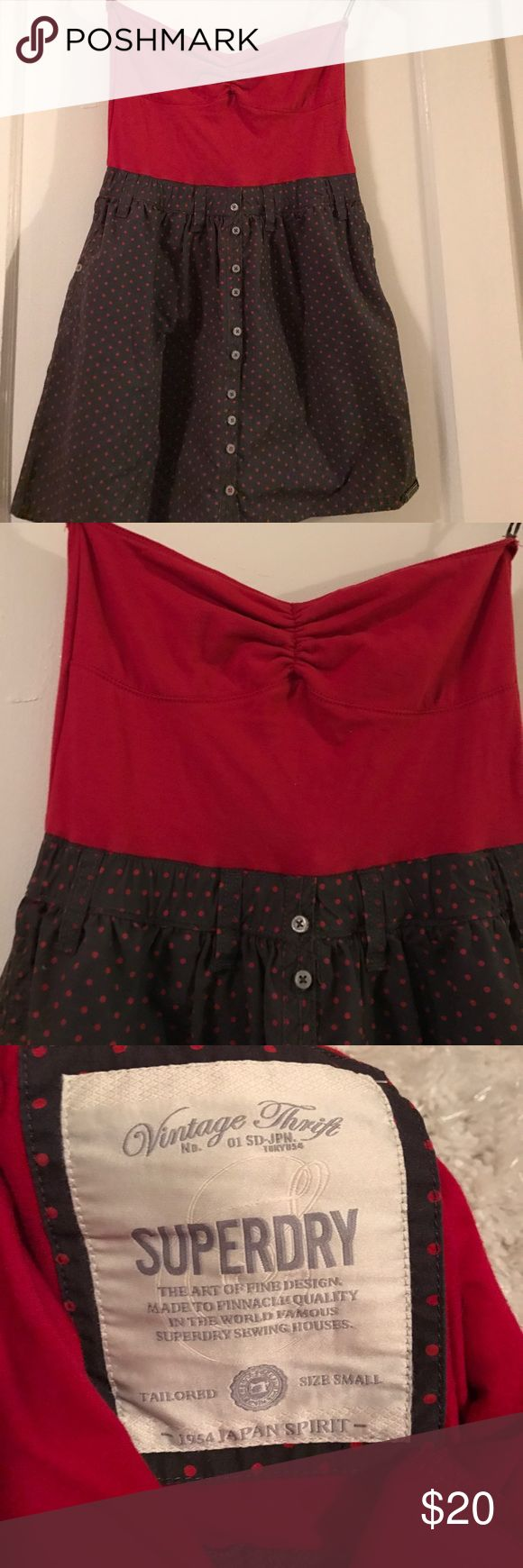 Superdry dress Fun strapless dress with a sweetheart neckline. The top part is a soft red color and the skirt has dark grey/almost brown with polka dots Superdry Dresses Strapless