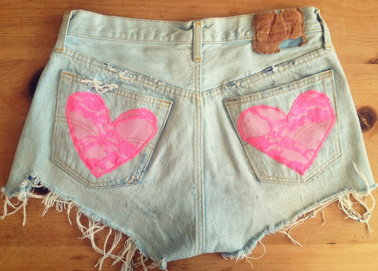 High waist denim shorts lace heart pockets by UnraveledClothing