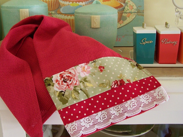 Retro red floral Decorative kitchen towel - lace edged tea towel. by Created by Cath., via Flickr