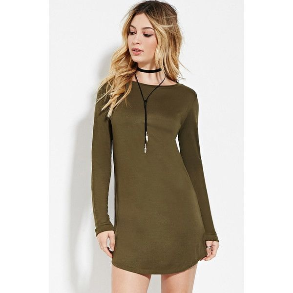 Forever21 Classic T-Shirt Dress ($13) ❤ liked on Polyvore featuring dresses, olive, t-shirt dresses, tee dress, olive green t shirt dress, long sleeve tshirt dress and brown t shirt dress