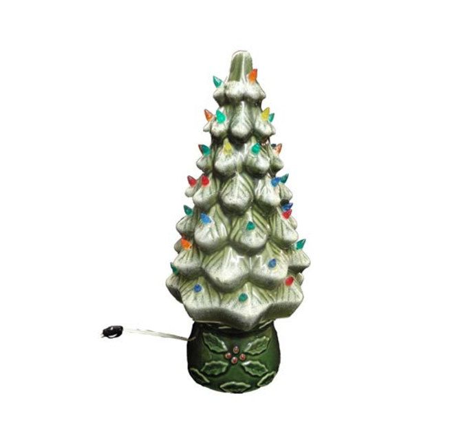 Vintage Christmas Tree - Ceramic Christmas Tree, Snow Covered Branches, Holly, Light Up Xmas Tree, Holiday Table Top Tree Light, WORKING by AGoGoVintage
