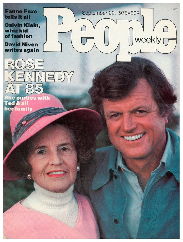 "People magazine, September 22, 1975 ~ ""Rose Kennedy at 85"" ~ Pictured: Sen. Ted Kennedy & his mother, Rose"