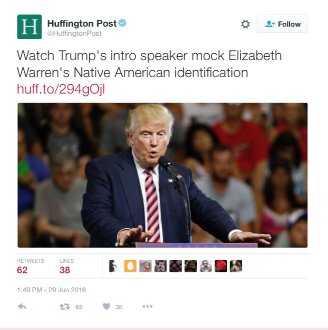 """IDIOTIC HuffPo: Trump Surrogate Mocked Elizabeth Warren's """"Native American Identification"""" -------------------------------------------- Wait what? So the problem is a Trump surrogate mocked Elizabeth Warren's 'identification'? She isn't Native American, and she does get to be one by 'identification'. She used it to try to get a professional advantage. What she did by normal SJW standards would have been called 'cultural appropriation'."""