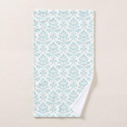 Feuille Damask Pattern Light Teal on White Hand Towel - pattern sample design template diy cyo customize