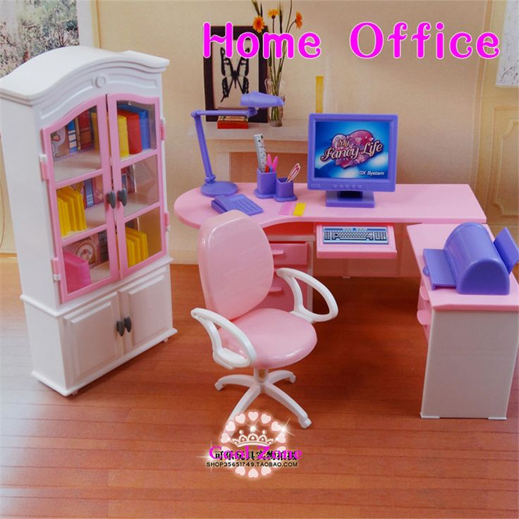 Cheap muebles en miniatura oficina en casa set para barbie for Muebles para barbie
