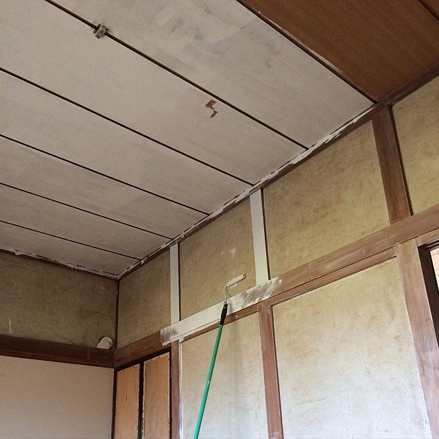 天井にペンキを塗る 和室を改造 Diy 和室を洋室に 築40年以上のマイ
