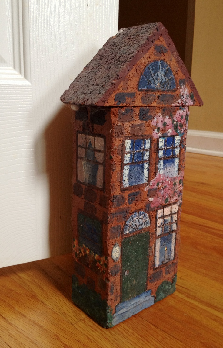 Hand Painted Brick Door Stop Brick Art Pinterest