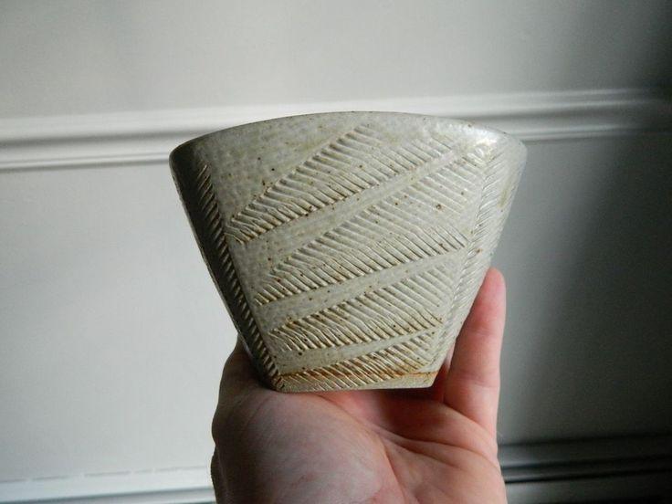 Signed Jeff Brown Northwood NH Studio Pottery Fern Bowl League of NH Craftsmen  #PostModern