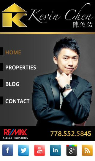 Custom Real Estate mobile website for realtor Kevin Chen