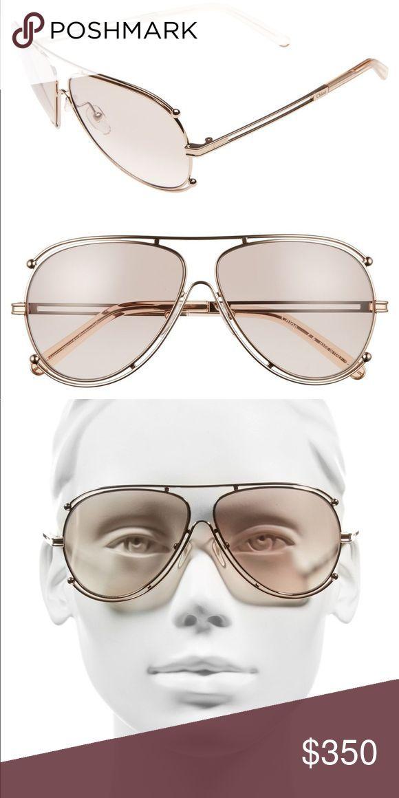 Chloe 61mm Isidora Aviator Sunglasses Style Aviator Size 61 11 140mm Eye Br 611114