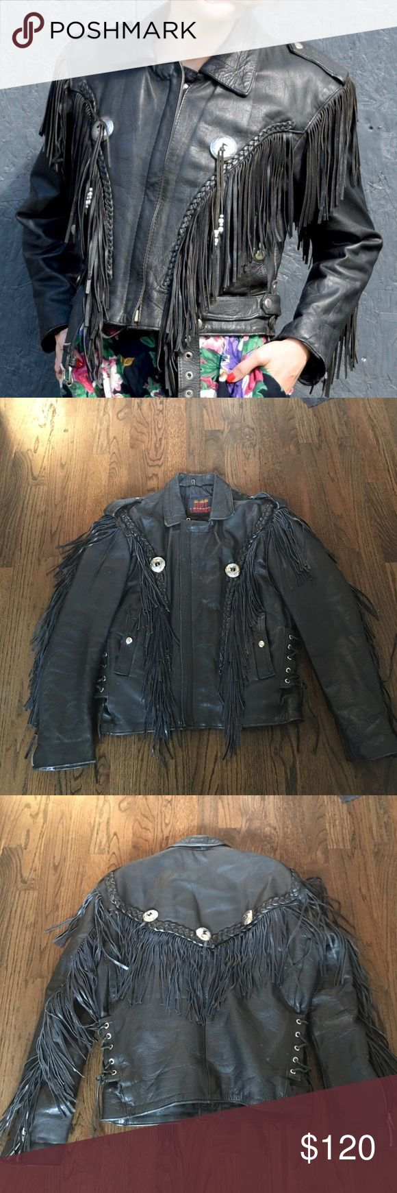 """Vintage Hot Leathers Fringe Biker Jacket  Get the look! The first pic is not the exact jacket but very close. This is such an incredible piece, with beautiful leather fringe and conchos, with braiding, and zippers. Says a size sm/m but I feel it's more of a large. Shoulder to shoulder is 21"""". This real leather jacket is heavy, a true Biker jacket. In pristine condition, from a smoke free home. Hot Leathers Jackets & Coats"""