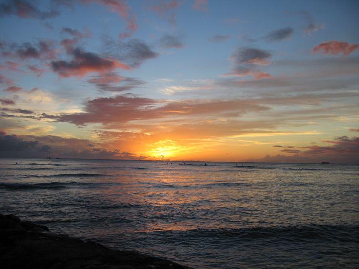 Sunset in  Waikiki,Honolulu,Hawaii,USA