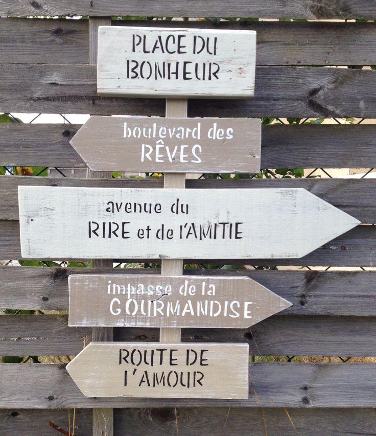 panneau de direction en bois de palette vintage design : Décorations murales par littlepalette