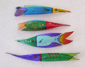 Τροπικά ψάρια Αιχμηρά ρύγχος Ψάρια Σκαλιστή από Καρύδα Seed Pod 28 ίντσες μακρύ