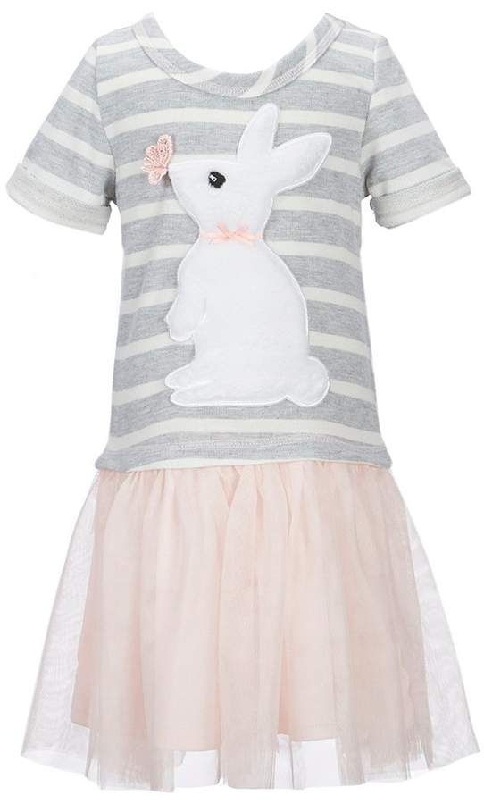 365d3486c8 Zunie Little Girls 2T-6X Easter Bunny Striped Tutu Dress   sleeves short bunny