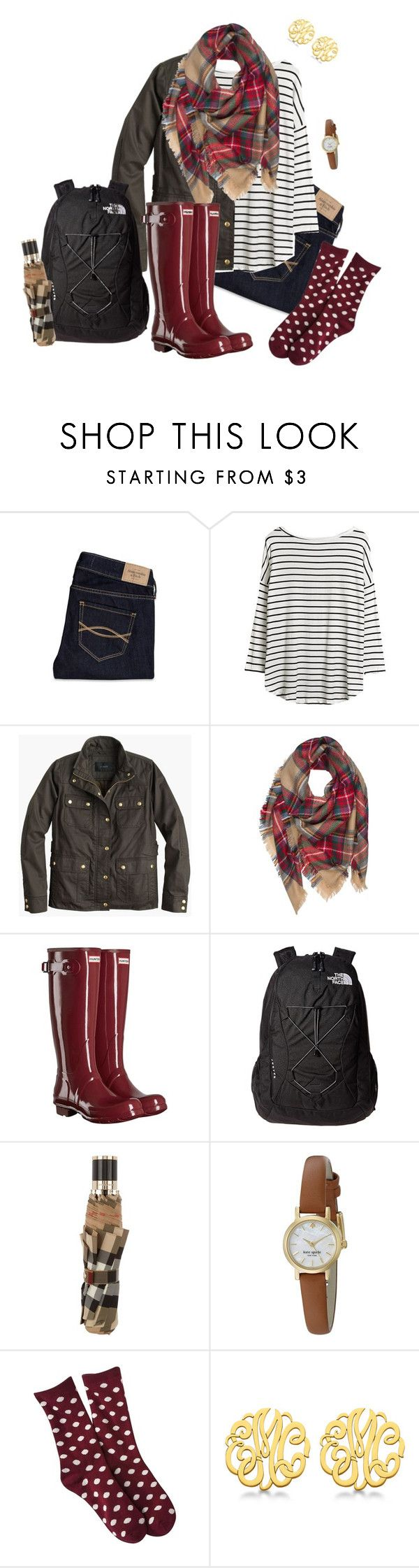 """save it for a rainy day"" by southrnblle ❤ liked on Polyvore featuring Abercrombie & Fitch, J.Crew, Hunter, The North Face, Burberry, Kate Spade, Merona and Allurez"