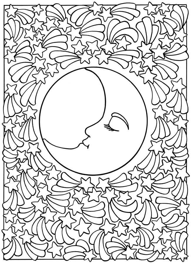 sun moon stars space planet coloring page printable adult kleuren voor volwassenen frbung fr erwachsene coloriage - Coloring Pages Stars Moons