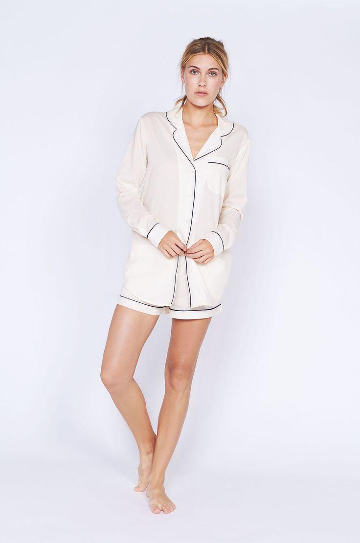 Classic Cream Short Luxury Cotton Womens Pyjama Set