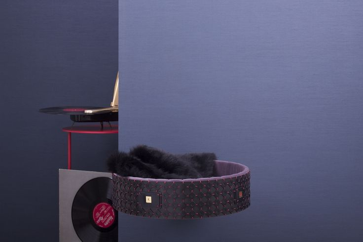 Made to Order pet bed in black calfskin with red stitching