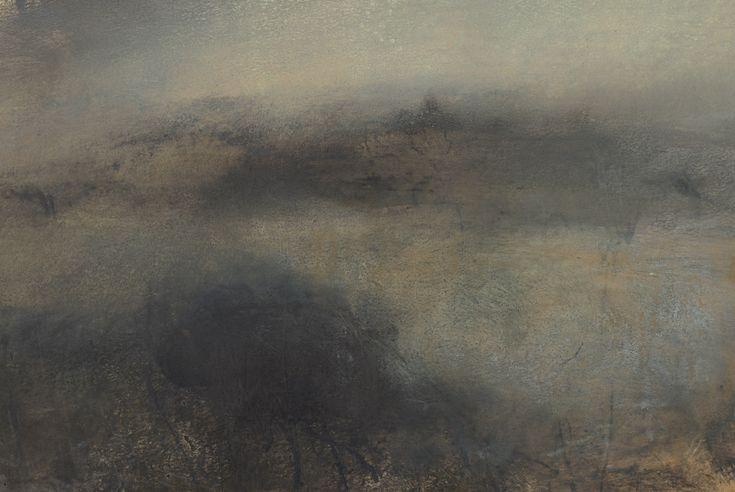 Nicholas Herbert, British Artist - Landscape L965, Sharpenhoe Series, Cornfield Below the Sundon Hills Escarpment, The Chiltern Hills, contemporary mixed media painting